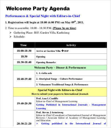 formal party agenda template
