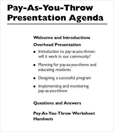 Formal Presentation Agenda