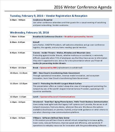 formal winter conference agenda template