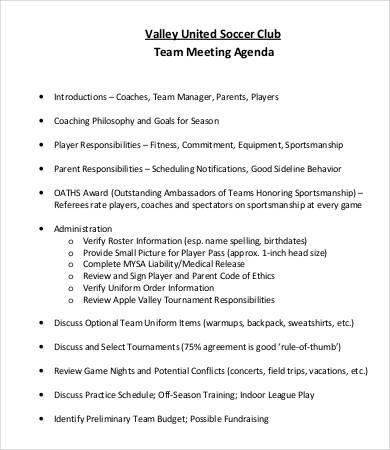 formal team meeting agenda template