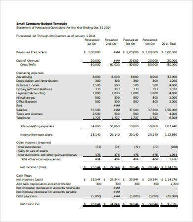 Company budget template 5 free excel pdf documents download small company budget template fbccfo