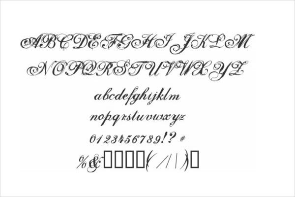 Cool Cursive Tattoo Fonts