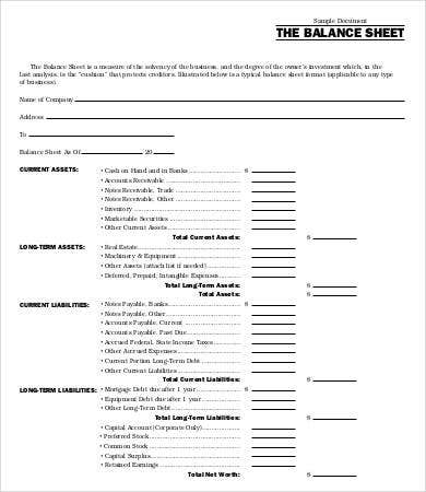 Blank Balance Sheets Sample Balance Sheet Template Free Fillable