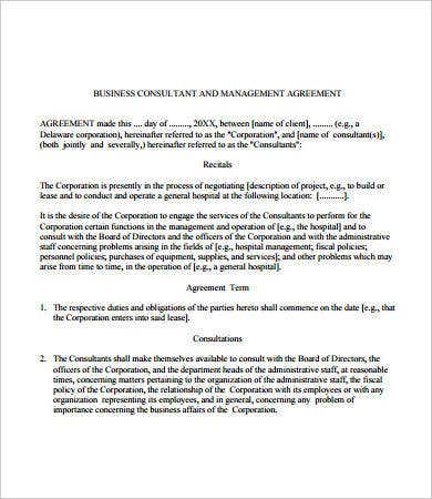 business management contract template