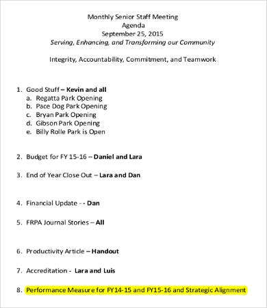 Monthly Staff Meeting Agenda Template