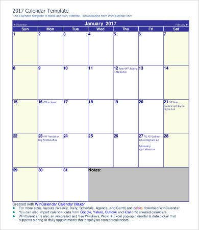monthly calendar agenda template