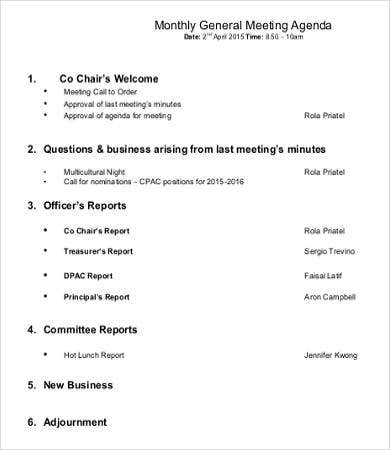 Monthly General Meeting Agenda