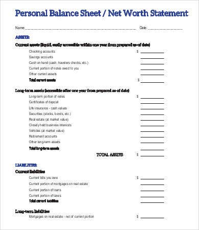 Printable Personal Balance Sheet Template  Free Printable Balance Sheet Template