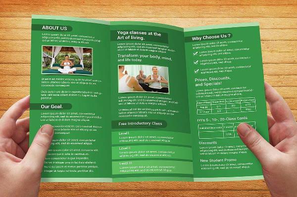 trifold yoga brochure