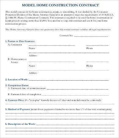 15 Sample Construction Contract Templates Free Sample