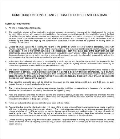 15 sample construction contract templates free sample for Consultant contract template free download