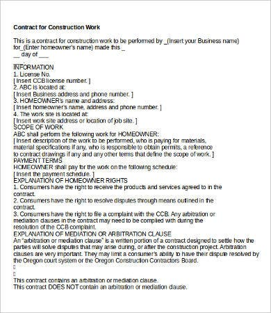 Sample Construction Contract Templates  Free Sample Example