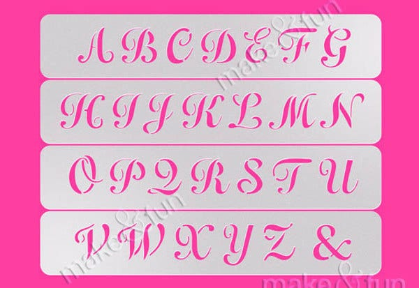 Printable Girly Letter Stencils