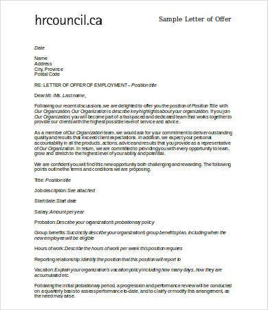 employment offer letter sample