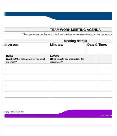 work meeting agenda template