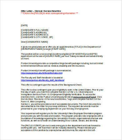 new hire offer letter sample