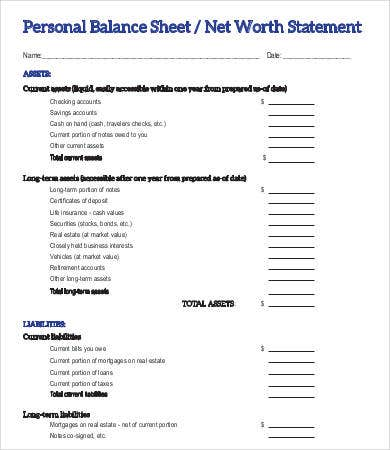 Personal Net Worth Balance Sheet Template  Balance Sheet Statement Format