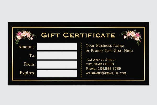 Black Gift Certificate Template