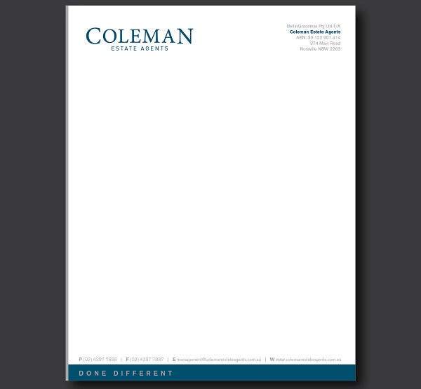 Simple Letterhead Design for Company