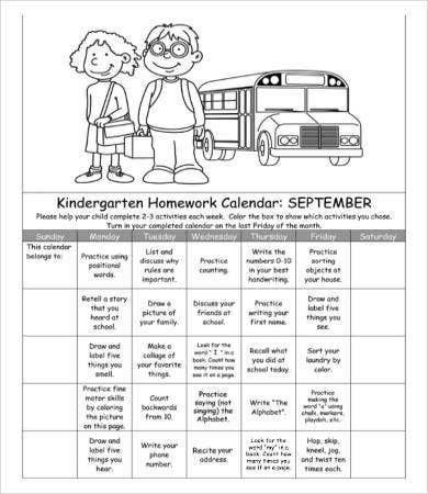 Homework Calendar Template   Free Word Pdf Documents Download
