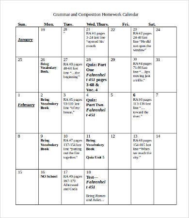 Grammar and Composition Homework Calendar