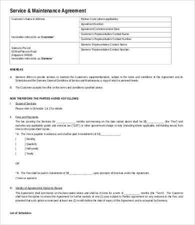 service maintenance contract sample - Maintenance Service Contract Sample