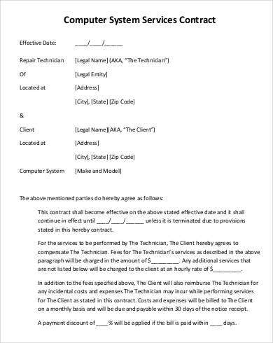 Computer System Services Contract Template  Contract For Services Template