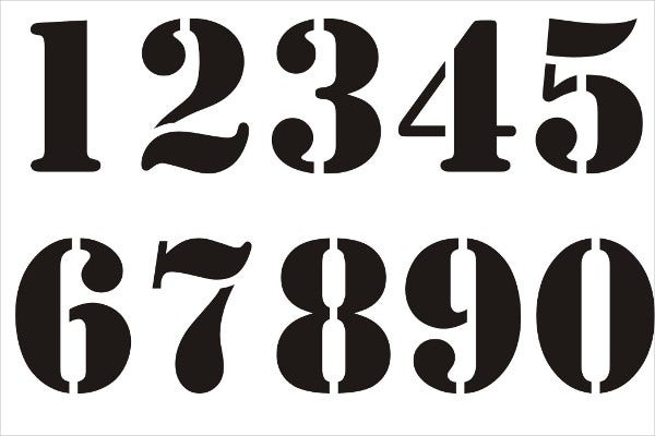 Unusual image for printable number stencils