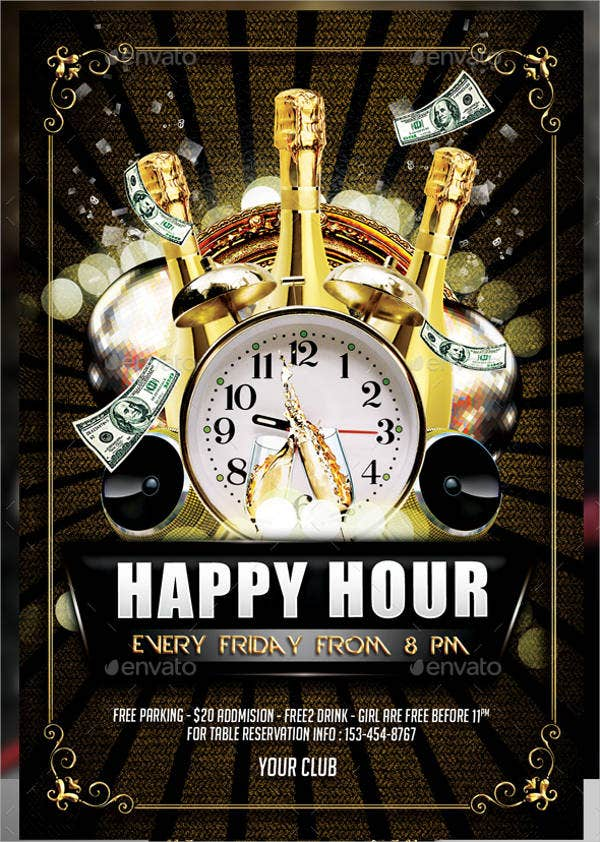 Happy Hour Holiday Flyer