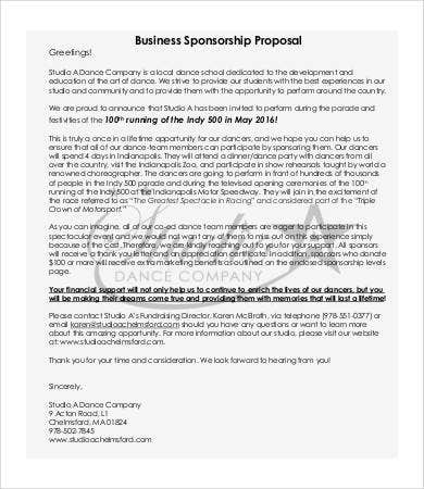 business sponsorship proposal