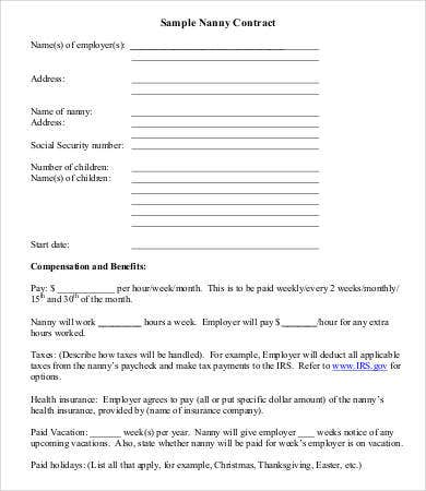 Sample Nanny Contract Forms And Templates - Fillable & Printable