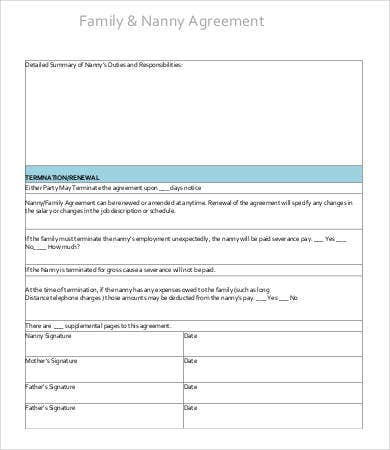 Sample Nanny Contract Templates  Free Sample Example Format