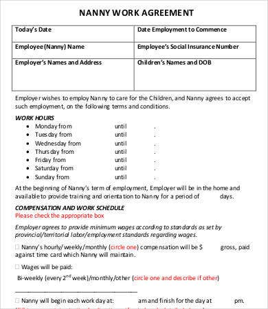 nanny work agreement template