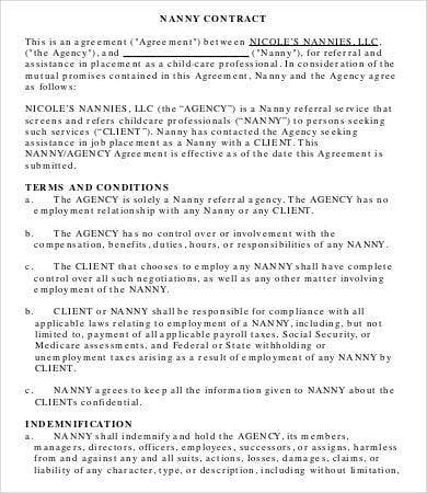 12 Sample Nanny Contract Templates Word Pages Free Premium