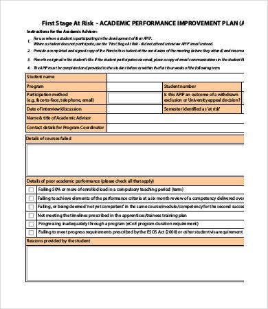 student improvement plan template performance improvement plan template 13 free word pdf