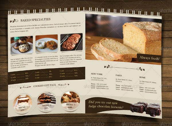 Bakery Brochure Template Free Funfpandroidco - Menu brochure template