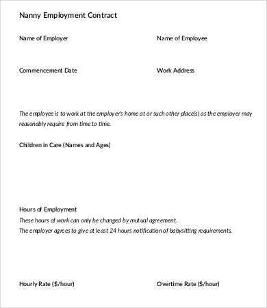 free nanny employment contract sample