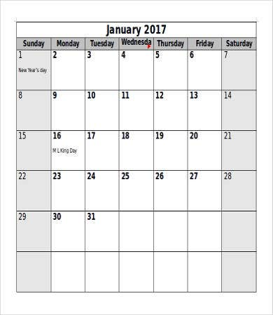 Printable Calendar Template   Free Word Pdf Documents