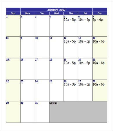 Printable Calendar Template 10 Free Word Pdf Documents Download