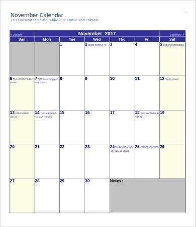 Printable Calendar Template   Free Word Pdf Documents Download