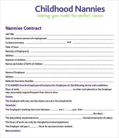 Childhood Nanny Contract