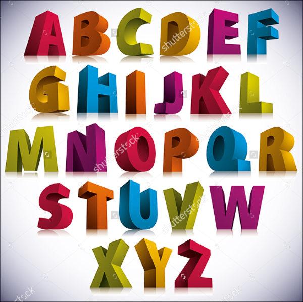 3D Alphabet Font