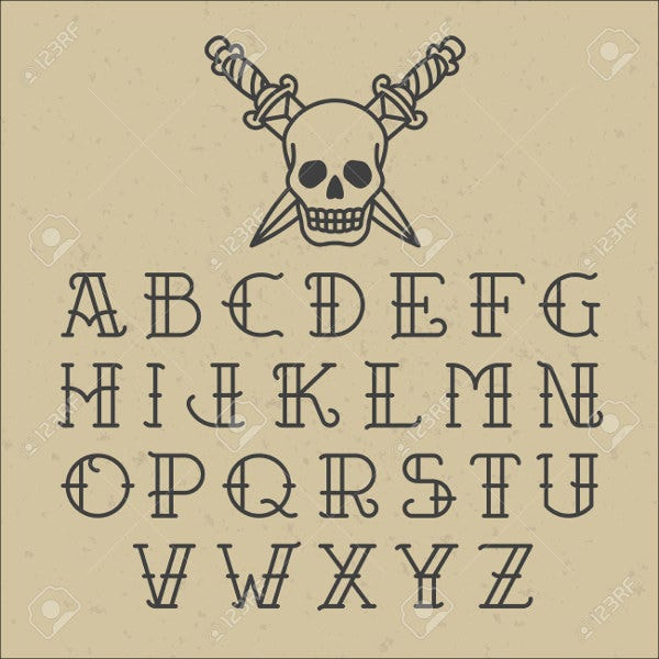 Tattoo-Alphabet-Font Tattoo Template Lettering Alphabet on font script, styles viking, california gangster,