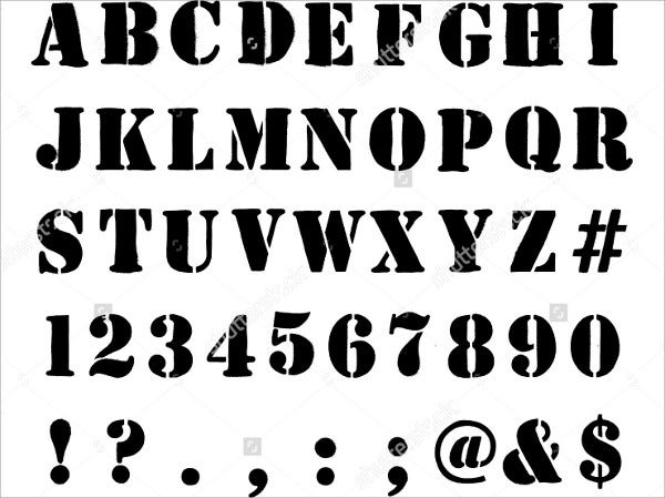 Stencil Alphabet Numbers And Symbols