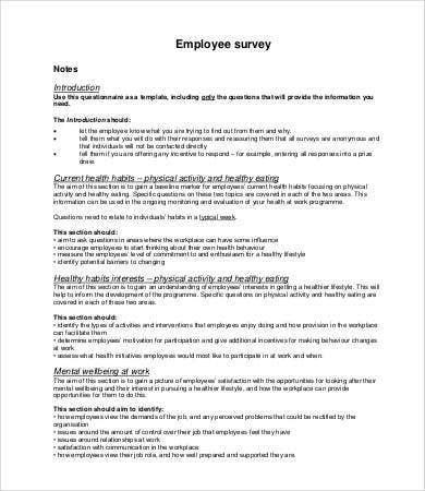 Amazing Printable Employee Survey Template