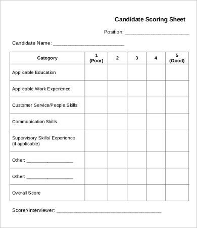 interview score sheet template