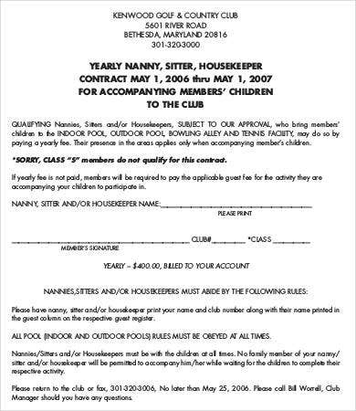 10 sample nanny contract templates free sample example format