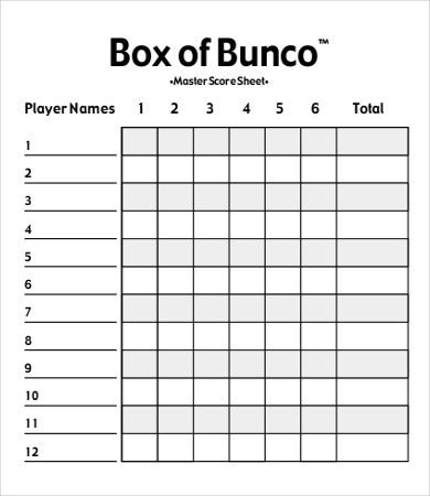 bunco score sheet template