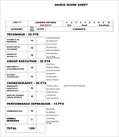 dance score sheet template