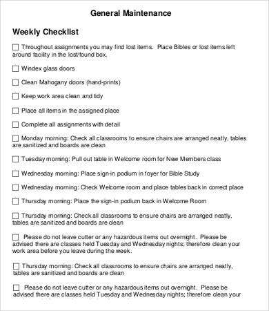 General Maintenance Weekly Checklist